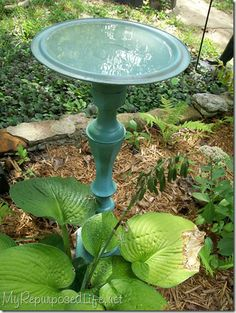 Lovely Lid Birdbath! - ever wonder what to do with those loner lids that no longer pair with a pot? Flip over and fill! [fitted onto an old lamp base/bedpost, etc... or large candlestick, as shown]