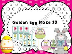 Make 10  Golden Egg from KindergartenCouture on TeachersNotebook.com -  (9 pages)  - Players flip cards to try to make 10 to collect golden eggs for their basket.  10 Frames are on the cards to help players see how many more they need to make 10.