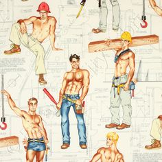 Alexander Henry male pin up Heavy Equipment construction fabric Blue Fabric, Cotton Fabric, Male Pinup, Alexander Henry Fabrics, Seal Beach, Halloween Fabric, Pin Up Tattoos, Boys Underwear, Gay Art