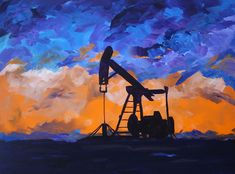 """Sunburst - Pumping Unit"" by artist Greg Evans http://evansart.com/subjects/oil-and-gas-art-paintings/#"