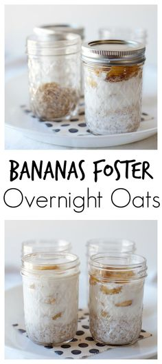 easy and so delicious! These bananas foster overnight oats are a breeze to make and a healthy breakfast option!So easy and so delicious! These bananas foster overnight oats are a breeze to make and a healthy breakfast option! Healthy Breakfast Options, Breakfast Recipes, Healthy Breakfasts, Breakfast Smoothies, Jar Breakfast, Healthy Snacks, Clean Breakfast, Oatmeal Smoothies, Parfait