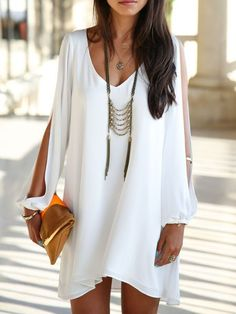 Shop Casual Dresses - White Long Sleeve A-line V Neck Cutout Casual Dress online. Discover unique designers fashion at PopJuLia.com.