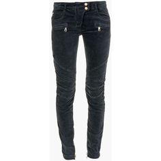 Balmain Black Low Rise Velvet Biker Jeans ($900) ❤ liked on Polyvore featuring jeans, pants, balmain, black, skinny jeans, skinny biker jeans, skinny fit jeans and skinny leg jeans