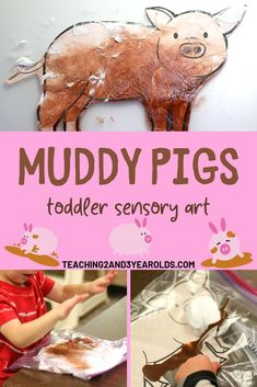Add some sensory art to your toddler farm theme with this fun muddy pig activity! Comes with a free pig printable. Only requires 2 ingredients! #farm #pig #sensory #shavingcream #printable #sensory #art #paint #toddler  #2yearold #teaching2and3yearolds