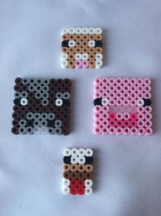 Perler Bead Minecraft Animals: Pig, Cow, Sheep, Chicken. $4.99, via Etsy.