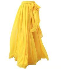 Beatiful Bow Tie Summer Beach Chiffon High Waist Maxi Skirt (7.000 HUF) ❤ liked on Polyvore featuring skirts, chiffon skirts, long summer skirts, long yellow skirt, high waisted long skirts and chiffon maxi skirt
