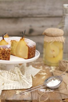 Marzipan Cake with Pears in White Wine and Vanilla