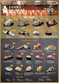 Sushi-Menü Entworfen von Shop Idea Co. Japanese Restaurant Menu, Japanese Menu, Restaurant Menu Design, Japanese Sushi, Japanese Dishes, Sushi Cafe, Sushi Buffet, Food Chemistry, Diy Sushi