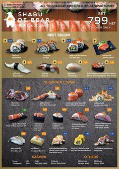 Sushi-Menü Entworfen von Shop Idea Co. Japanese Restaurant Menu, Japanese Menu, Japanese Dishes, Menu Restaurant, Sushi Cafe, Sushi Buffet, Food Chemistry, Diy Sushi, Seafood Menu
