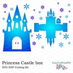 SVG DXF PNG Princess Frozen Castle box template baby girl party Cutting digital…