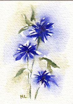 ACEO Miniature Card Original Watercolour - Cornflower Blue - Flowers