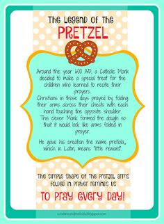LDS ACTIVITY DAYS Pretzels and Prayer Activity and lesson.  GREAT lesson for Family Home Evening FHE or Primary, Scouts, Young women or any religious group. Legend of the Pretzel Printable from Sunshine and Melody at sunshineandmelody.blogspot.com