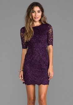 SHOSHANNA Magnolia Lace Davina Dress in Dark Violet - Cocktail. Would be super cute In white for the reception!!