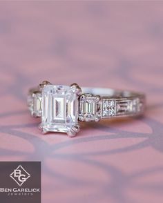 "Kirk Kara ""Charlotte"" Emerald Cut Three Stone Diamond Engagement Ring at Ben Garelick Jewelers"