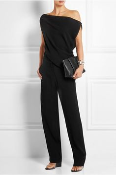McQ Alexander McQueen - Off-the-shoulder crepe jumpsuit Looks Chic, Looks Style, My Style, Plus Size Jumpsuit, Black Jumpsuit, Casual Outfits, Fashion Outfits, Womens Fashion, Alexander Mcqueen