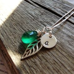 Leaf Necklace - Charm Necklace - Initial Necklace - Personalized Jewelry - Gemstone Initial Necklace - by JLynnCreations on Etsy https://www.etsy.com/listing/112175355/leaf-necklace-charm-necklace-initial