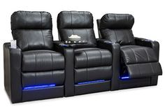 Seatcraft Monterey Home Theater Seats are constructed with the highest quality materials such as leather 7000, and cool gel memory foam to the most sought after features like powered headrests, usb charging station, lighted cupholders, and baselightinig. The Seatcraft Monterey is the complete package in home theater seating.