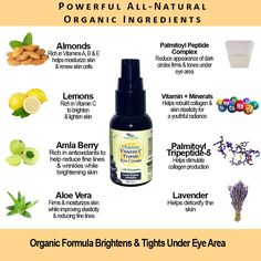 Organic Vitamin C Peptide Skin Brightening Eye Cream For Dark Circles & Fine Lines  -  Palmitoyl Peptide Complex -(palmitoyl oligopeptide, palmitoyl tetrapeptide-7, chrysin) will reduce the appearance of dark circles when used 2x a day over a period of 60 days PALMITOYL TRIPEPTIDE– 5 is a highly bioactive, deep skin penetrating peptide that penetrates the skin through enhanced collagen production.$34.95  Find us on Etsy:  https://www.etsy.com/listing/493754977