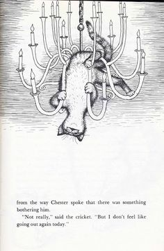 Some very nice pen and ink illustrations by Garth Williams from Chester Cricket's Pigeon Ride,first published in 1981.