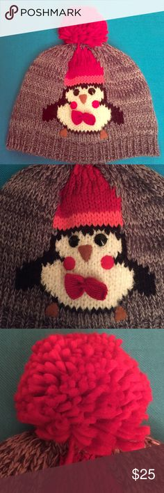 🆕 🎅🏽 Penguin Pom Pom Beanie 🎅🏽 🎅🏽 Oh What Fun! Great Holiday Gift! 🎁 OS. Thick Grey Knit with Red Pom Pom. Penguin has on a Red and Pink Hat. Black and White with Black Button Eyes, Brown Nose + Feet, and Red Cheeks + Bow Tie. Inside is Multi-Colored. Super Cute! Brand New. Excellent Condition. No Trades. David & Young Accessories Hats
