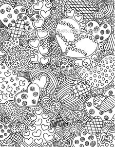 The Hearts Have It coloring page This is a digital file purchase. The file is a single page PDF of my original hearts abstract coloring page.