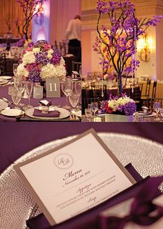 Purple themed reception tables