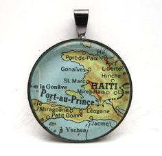 Vintage Map Pendant of Haiti with by CarpeDiemHandmade on Etsy, $10.00