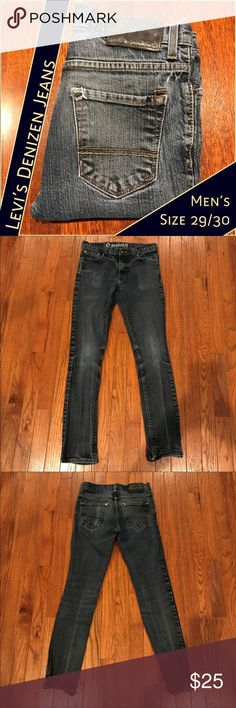 """Men's Levi's Denizen 208 Super Skinny Jeans 29 These Levi's Denizen distressed jeans are in EUC and ready to become a wardrobe staple for you.  Measurements:  •Waist, laying flat across front: 14.5"""" •Inseam: 29.25"""" •Rise: 9""""  From a smoke-free and happy-to-bundle closet.   No trades or transactions outside of Poshmark. [P170] Levi's Jeans Skinny"""