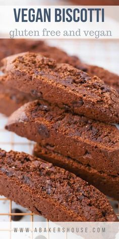 This recipe for chocolate biscotti will surely please your holiday crowd-- a chocolate treat that is vegan, gluten free, dairy free, oil free, and plant-based. #vegan #chocolate #biscotti #abakershouse #holidaybaking #cookieexchange #italianbiscotti #Christmas Gluten Free Chocolate, Chocolate Desserts, Vegan Desserts, Vegan Chocolate, Vegan Treats, Chocolate Cookies, Vegetarian Recipes Easy, Delicious Vegan Recipes, Dairy Free Recipes