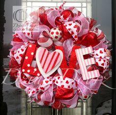LOVE You Lots deco mesh wreath. $115.00, via Etsy.