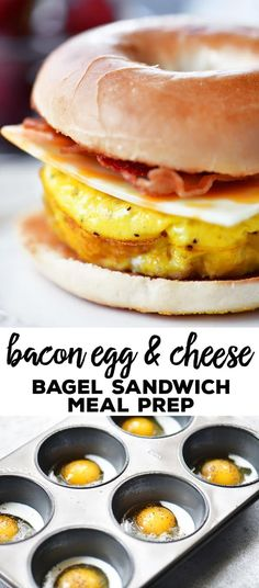 This Bacon Egg Cheese Bagel Sandwich meal prep recipe give you breakfast for the week! Bake muffin tin scrambled eggs and store them in the fridge. For breakfast warm the baked scrambled eggs in the microwave add to a toasted bagel with cheese and bacon. Breakfast Sandwich Recipes, Breakfast Bagel, Bagel Sandwich, Eggs For Breakfast Sandwiches, Meal Prep Breakfast, Picnic Sandwiches, Finger Sandwiches, Bacon And Egg Sandwiches, Breakfast For Dinner