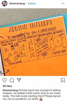 Math Strategies, Math Tips, Teaching Resources, Adding And Subtracting Integers, Multiplying Integers, Integers Activities, Math Activities, Seventh Grade Math, Rational Numbers