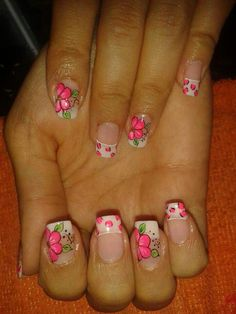 What are the most beautiful blue nail art? Flower Nail Designs, French Nail Designs, Simple Nail Art Designs, Short Nail Designs, Colorful Nail Designs, Daisy Nails, Flower Nails, French Tip Nails, Stylish Nails