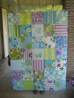 another lap quilt from vintage sheets in blue, green and purple . for the cottage sunroom Vintage Sheets, Vintage Quilts, Vintage Fabrics, Vintage Linen, Retro Vintage, Quilting Projects, Quilting Designs, Sewing Projects, Quilting Ideas