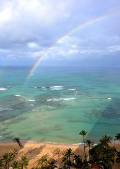 Early morning rainbow over Waikiki Beach. Hawaiian Rainbow, Rainbow Sky, Rainbow Colors, Amazing Things, Wonderful Places, Amazing Places, Waikiki Beach, Places Of Interest, Early Morning