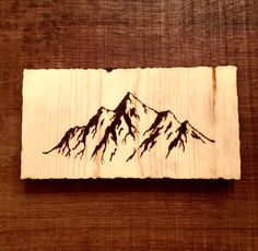 Mountains wood burning pyrography