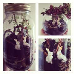 """Love bunny"" valentines day terrarium. Did it myself for pretty cheap! #terrarium #bunnies #succulent"