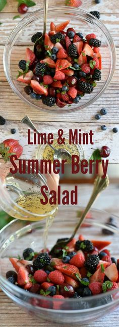 Summer Berry Fruit Salad with Mint Honey Lime Dressing and Poppy Seeds! Perfect side dish for bbq's, picnics and more! via @GingeredWhisk