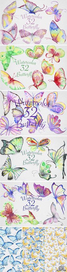 Watercolor Butterfly Set2 - 671539