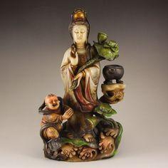 Vintage Chinese Shoushan Stone Statue - Kwan-yin & Kid