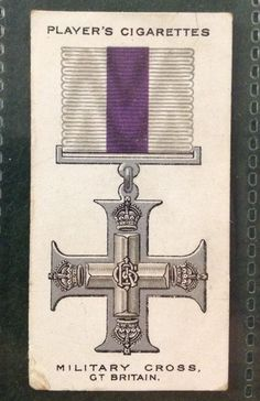 No.11 MILITARY CROSS Gt Britain, War Decorations & Medals PLAYERS 1927
