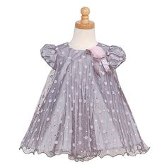 Gray Pleated Pink Dot