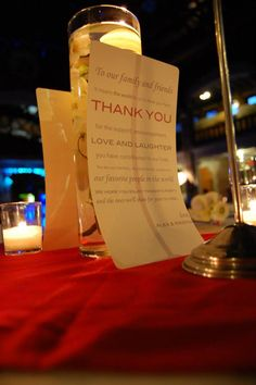 Thank You cards for the tables