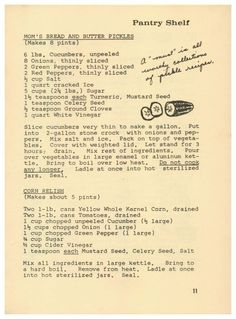 Stephenson's Apple Farm Restaurant Receipts, 1973 - Mom's Bread And Butter Pickles, Corn Relish  http://www.amazon.com/gp/product/B01N3YCXSV/ref=cm_sw_r_tw_myi?m=A3FJDCC1SFO8CE
