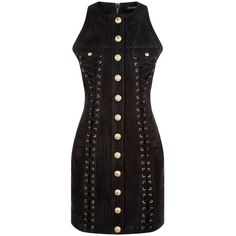 Balmain Lace-Up Suede Sleeveless Dress (€3.500) ❤ liked on Polyvore featuring dresses, laced up dress, panel dresses, scoop neckline dress, balmain dress and no sleeve dress