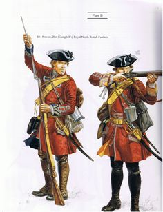 CHURCHILL: Private Foot (Campbell's) Royal North British Fusiliers and Corporal Foot (Semphill's), by (artist unknown). If you know the artist and can supply a link, please update this pin. British Army Uniform, British Uniforms, British Soldier, American Revolutionary War, American Civil War, American History, Military Art, Military History, Military Uniforms