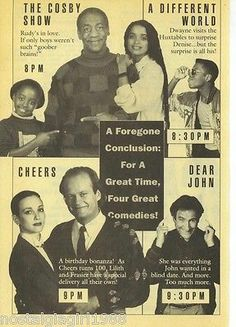 1989 NBC TV Guide Ad, Cheers, Dear John, The Cosby Show, A Different World Promo