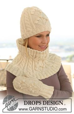 Accessories - Free knitting patterns and crochet patterns by DROPS Design Knit Mittens, Knitted Poncho, Knitted Gloves, Bonnet Crochet, Knit Crochet, Crochet Hats, Easy Scarf Knitting Patterns, Lace Knitting, Crochet Patterns