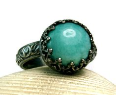 Amazonite Ring Antiqued Sterling Silver by TazziesCustomJewelry, $63.00