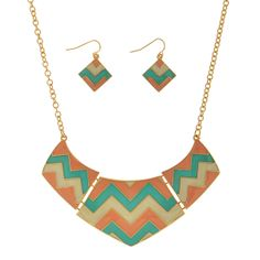 Chevron coral and turquoise necklace set